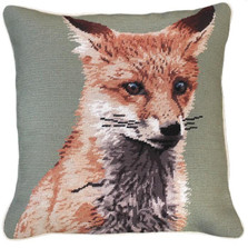Fox Needlepoint Down Throw Pillow | Michaelian Home | MICNCU788