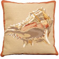 Murex Shell Needlepoint Down Throw Pillow | Michaelian Home | MICNCU803