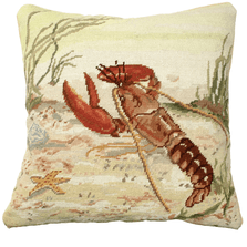 Lobster Needlepoint Down Throw Pillow | Michaelian Home | MICNCU808