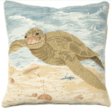 Sea Turtle Needlepoint Down Throw Pillow | Michaelian Home | MICNCU811