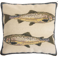 Double Rainbow Fish Needlepoint Down Throw Pillow | Michaelian Home | MICNCU844SD