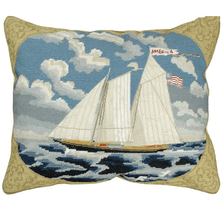 America Schooner Yacht Mixed Stitch Down Throw Pillow | Michaelian Home | MICNCU440