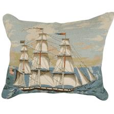 Ship at Full Mast Mixed Stitch Down Throw Pillow | Michaelian Home | MICNCU456