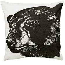 Black Bear Printed Down Throw Pillow | Michaelian Home | MICNPE048