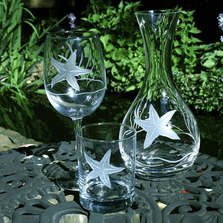 Starfish Engraved Glass Carafe | Rolf Glass | 400709