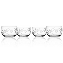 Olive Branch Engraved Glass Bowl Set of Four | Rolf Glass | 302362