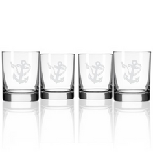 Rope and Anchor Double Old Fashioned Glass Set of 4 | Rolf Glass | 232003
