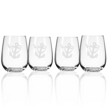 Rope and Anchor Stemless Wine Glass Set of 4 | Rolf Glass | 232331