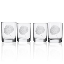Aspen Leaf Double Old Fashioned Glass Set of 4 | Rolf Glass | 702001