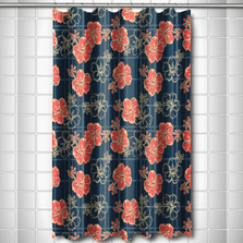 Hibiscus Plaid Shower Curtain | Island Girl Home | SC44