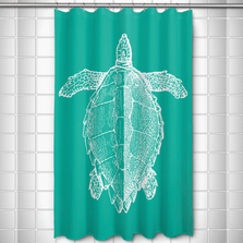 Sea Turtle Shower Curtain Vintage Aqua | Island Girl Home | SC163