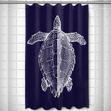 Sea Turtle Shower Curtain Vintage Navy | Island Girl Home | SC165