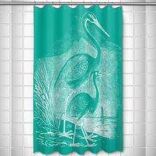 Egret Shower Curtain Vintage Aqua | Island Girl Home | SC176