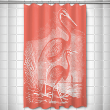 Egret Shower Curtain Vintage Coral | Island Girl Home | SC177