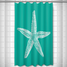 Starfish Shower Curtain Vintage Aqua | Island Girl Home | SC294