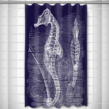 Vintage Navy Seahorse Shower Curtain | Island Girl Home | SC175