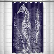 Vintage Navy Seahorse Shower Curtain | Island Girl Home | SC175