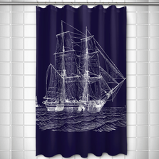 Ship Shower Curtain Vintage Navy | Island Girl Home  | SC168