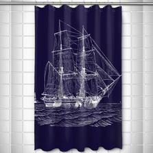 Ship Shower Curtain Vintage Navy | Island Girl Home  | SC168