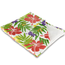 "Hibiscus Fleece Throw Blanket ""Island Fever"" 