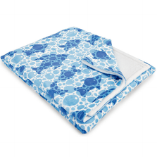 "Fish Fleece Throw Blanket ""Blue Fish Bubbles"" 