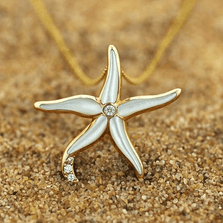 Starfish 14K Gold Mother of Pearl Pendant Necklace | Kabana | GPCF618MW -2