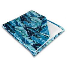 "Palm Frond Fleece Throw Blanket ""Midnight Jungle"" 