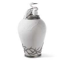 Herons Realm Porcelain Figurine Covered Vase | Lladro | 01007052