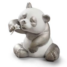 Cheerful Panda Bear Figurine with Silver Lustre   Lladro   01009088