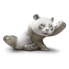 Jolly Panda Bear Porcelain Figurine with Silver Lustre | Lladro | 01009091