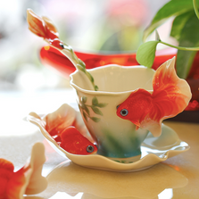 Goldfish Porcelain Cup Saucer Spoon Set | FZ00426 | Franz Collection