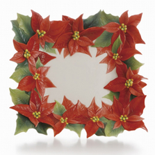 Poinsettia Square Porcelain Plate | FZ01988 | Franz Collection