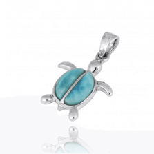 Turtle Sterling Silver Larimar Pendant Necklace   Beyond Silver Jewelry   NP10918-LAR
