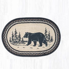 Bear Oval Braided Rug | Capitol Earth Rugs | OP-313BEARSILHO