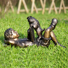 "Boy and Dog Garden Sculpture ""Impatience"" 