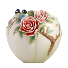 Joyful Spring Chickadee and Camellia Vase | FZ02972 | Franz Collection