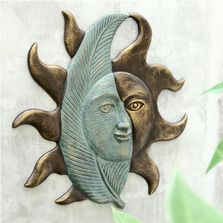 Leaf and Sunface Wall Hanging   33759   SPI Home