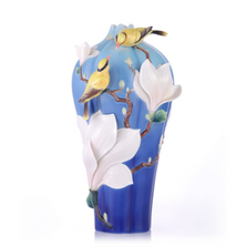 Elegant Blossom Waltz Yulan Magnolia Porcelain Vase | FZ03466 | Franz Collection