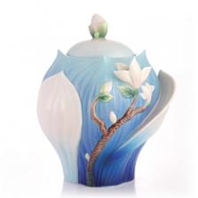 Elegant Blossom Waltz Yulan Magnolia Sugar Jar   FZ03488   Franz Collection
