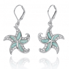 Starfish Sterling Silver Larimar Earrings | Beyond Silver Jewelry | NEA3222-LAR