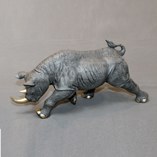 Rhino Bronze Sculpture Black | BBSRHI1-BLK