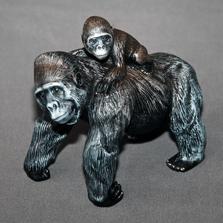 Mother Gorilla and Baby Bronze Sculpture   Barry Stein   BBSGORMAMABABY