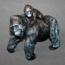 Mother Gorilla and Baby Bronze Sculpture | Barry Stein | BBSGORMAMABABY