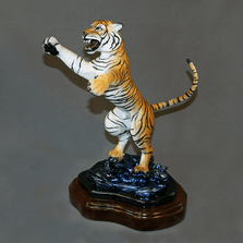 "Tiger Bronze Sculpture ""Defiant"" 