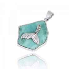 Whale Tail Sterling Silver on Larimar Pendant Necklace | Beyond Silver Jewelry | NP11321-LAR