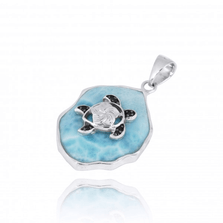 Turtle Sterling Silver on Larimar Pendant Necklace   Beyond Silver Jewelry   NP11323-LAR