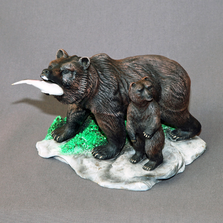"Bear Bronze Sculpture ""First Lesson"" 