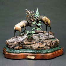 "Elk Bronze Sculpture ""Conflict of the Vanities""  