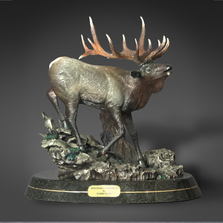 "Elk Bronze Sculpture ""Descending Monarch"" 