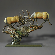 "Elk Bronze Sculpture ""Royal Conflict"" 